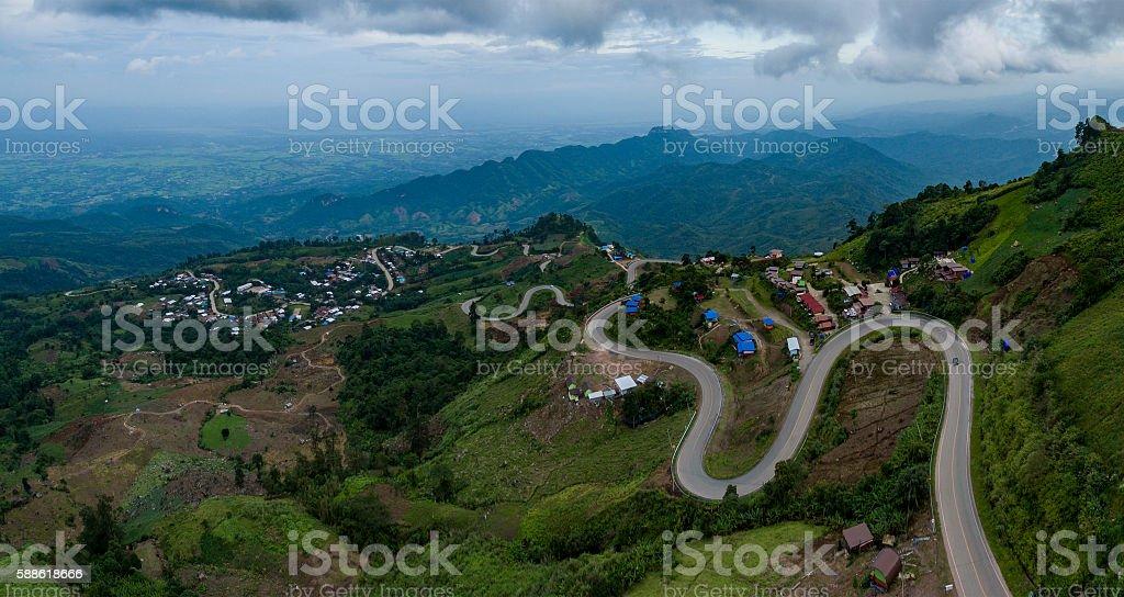 aerial view of mountain road to tubberk peak petchabun stock photo