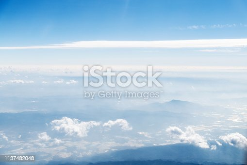 istock Aerial view of mountains in clouds 1137482048
