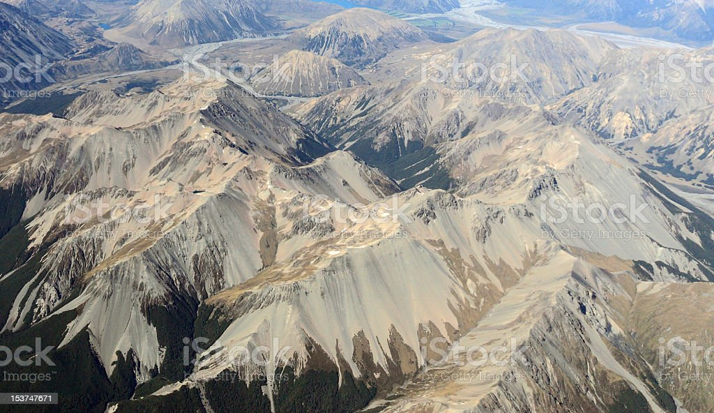 Aerial view of mountains ,new zealand royalty-free stock photo