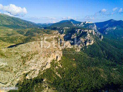 Aerial view of Moustiers Sainte Marie, Provence, France.