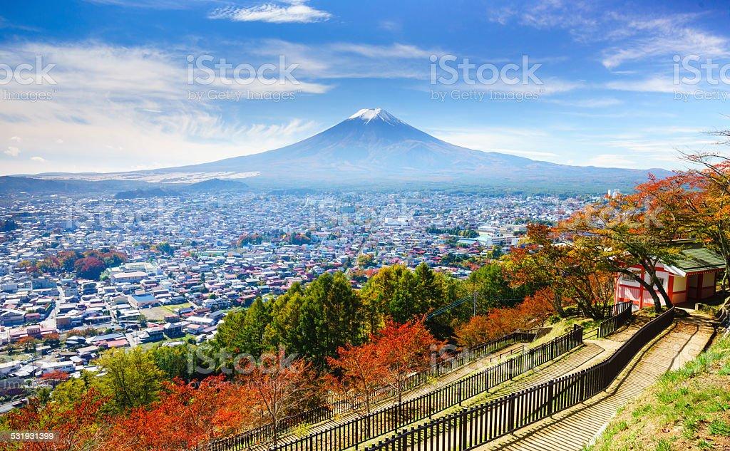 Aerial view of mt.Fuji, Fujiyoshida, Japan stock photo