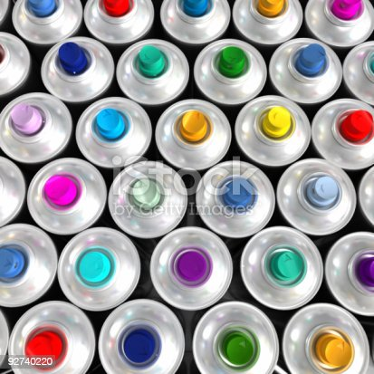 506166130 istock photo Aerial view of multicolored aerosol cans 92740220