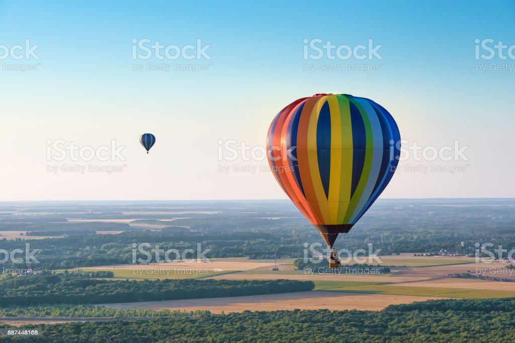 Aerial view of multicolored hot air balloons stock photo