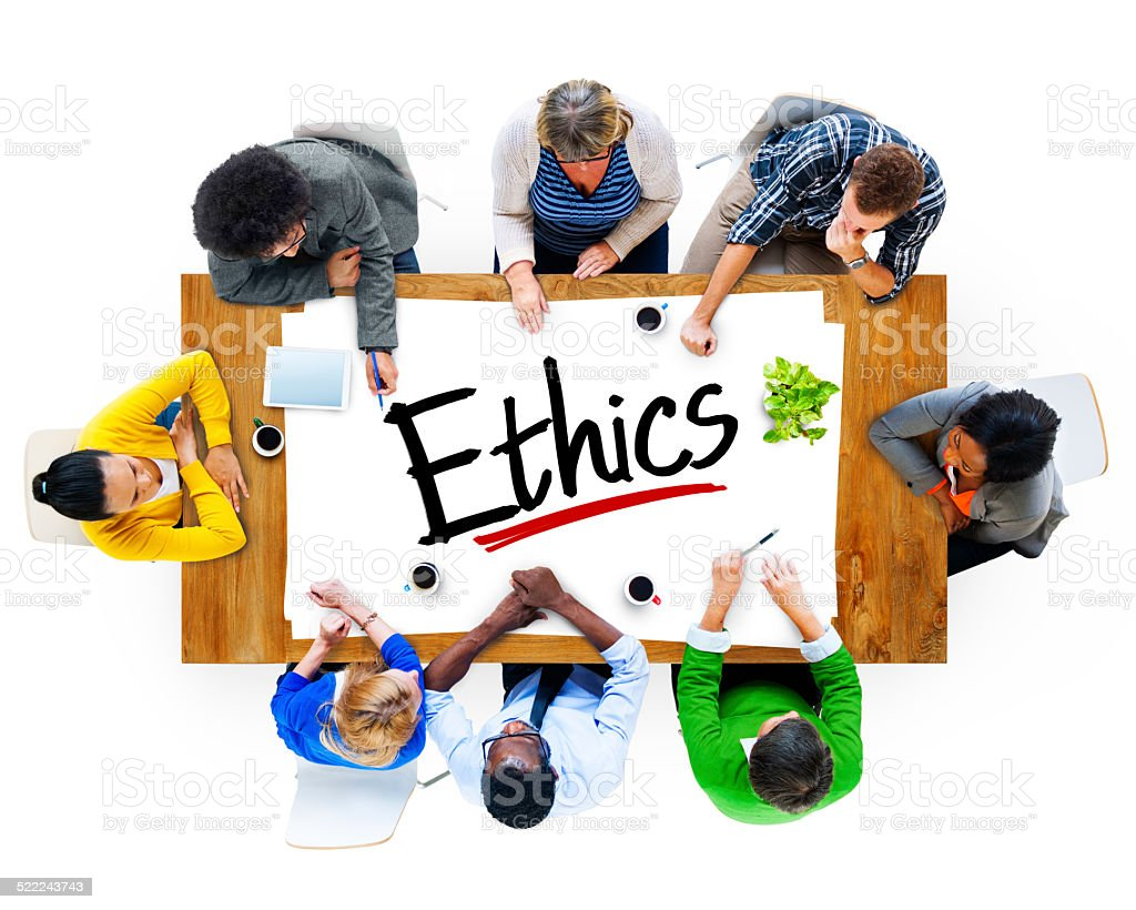 Aerial View of Multiethnic Group with Word Ethics stock photo