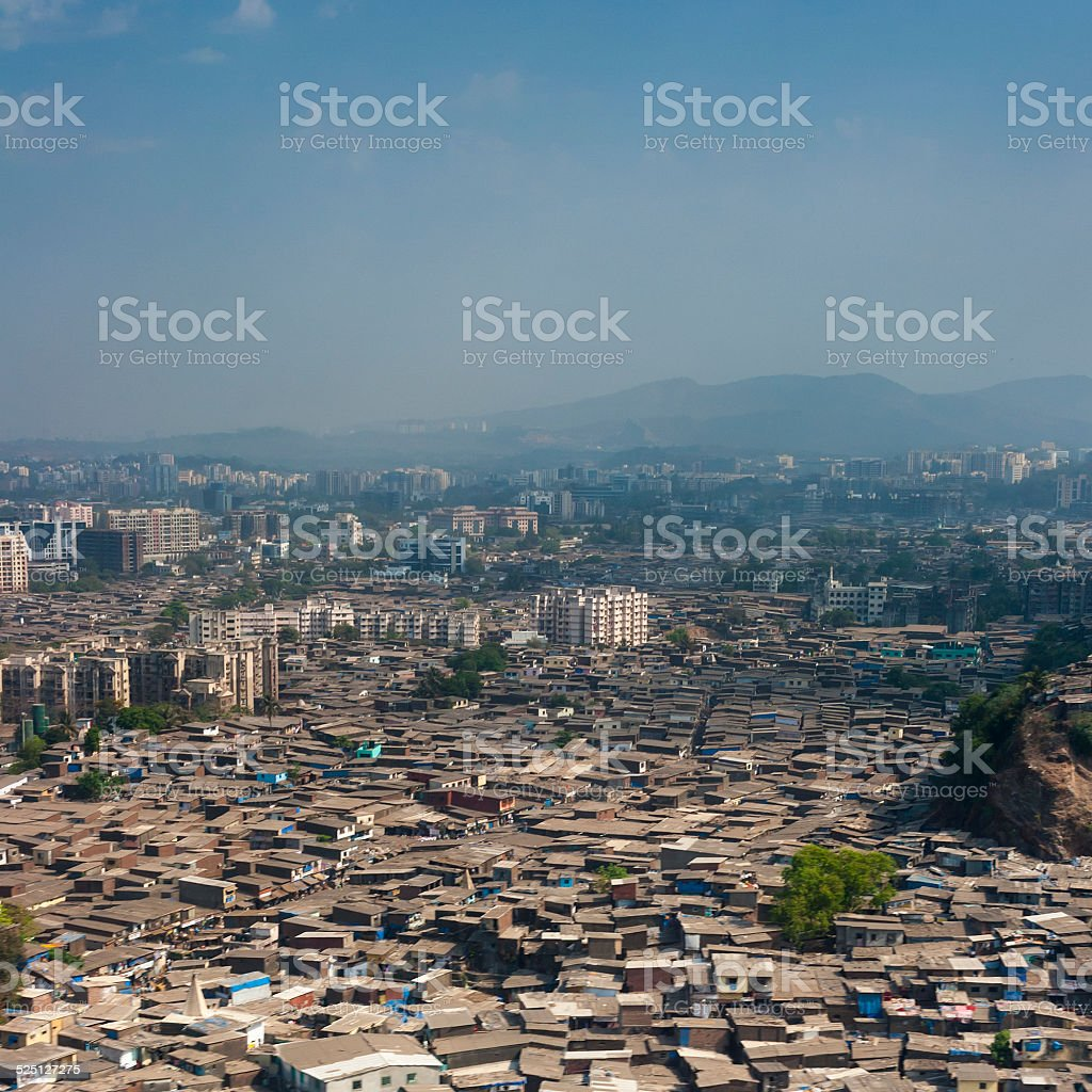 Aerial view of Mumbai slums stock photo