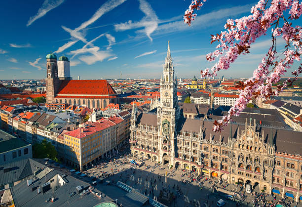 Aerial view of Munchen at spring stock photo