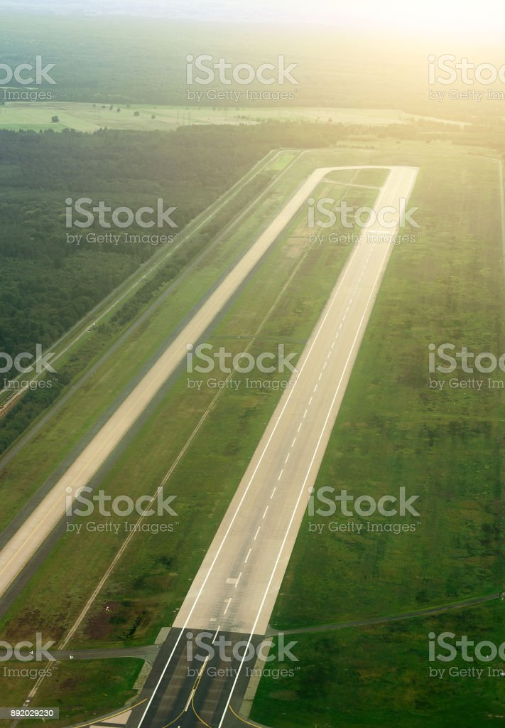 Aerial view of Munich airport in Germany. Airfield. stock photo