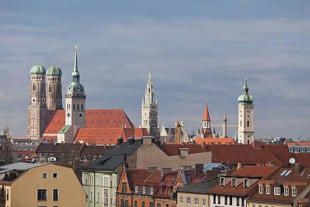 aerial view of munich - sankt peterskyrkan münchen bildbanksfoton och bilder