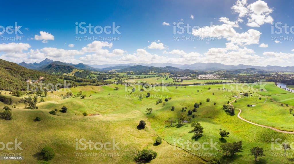 Aerial View of Murwillumbah stock photo