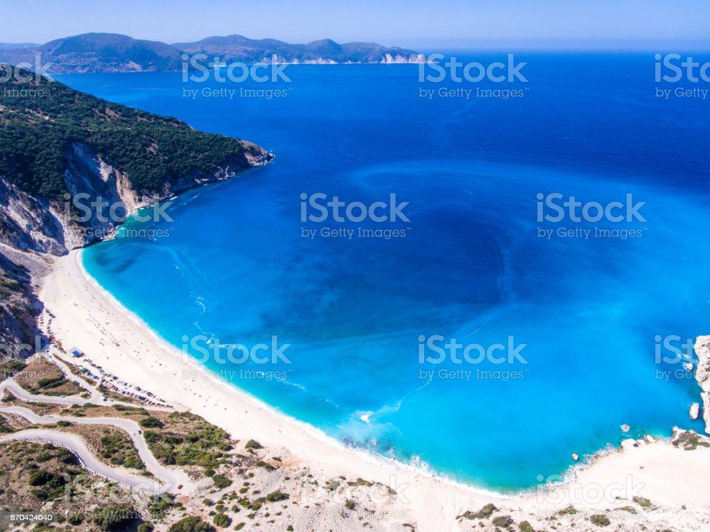 Aerial view of Myrtos Beach Kefalonia Greece Ioanian Islands stock photo