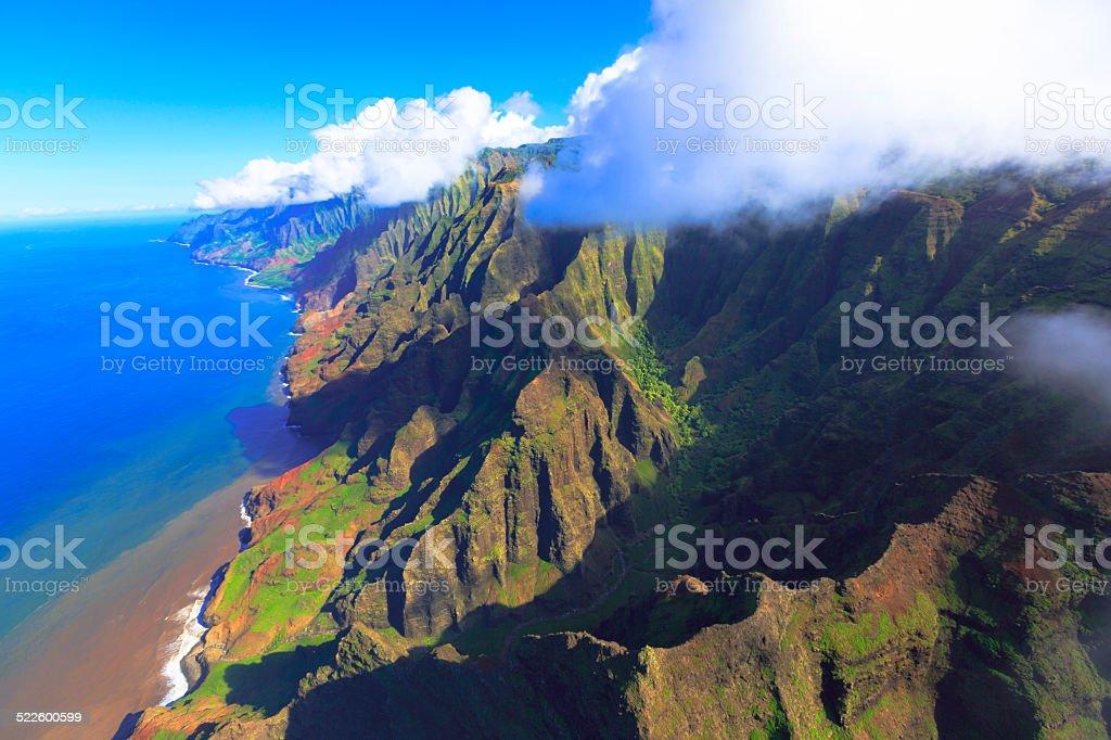 Aerial view of Na pali coast in Kauai, Hawaii stock photo