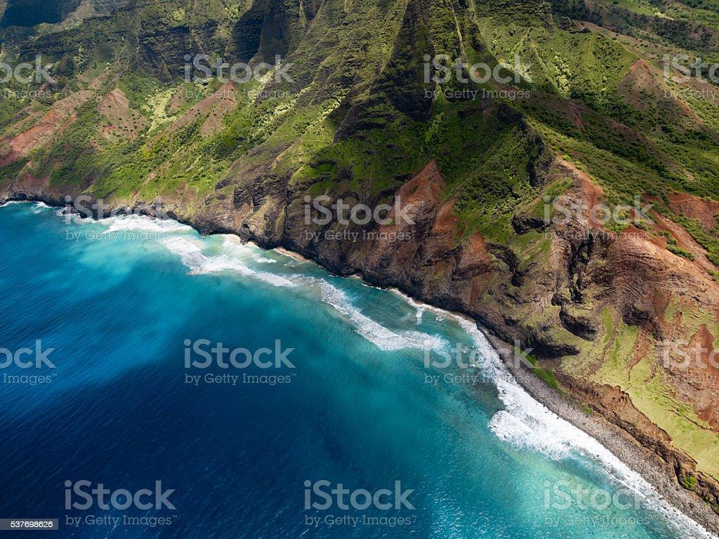 Aerial View of Na Pali Coast on Kauai island, Hawaii stock photo