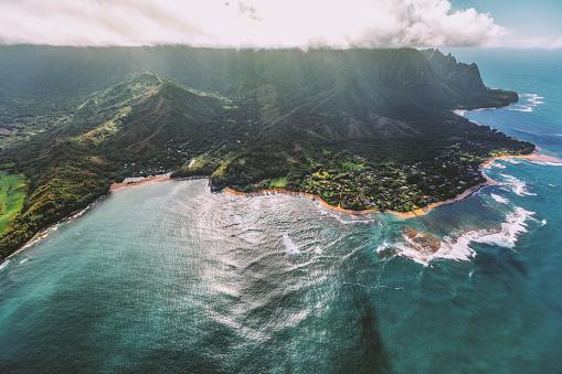 Aerial view of Na Pali Coast State Park Coastline in Kauai, Hawaii USA