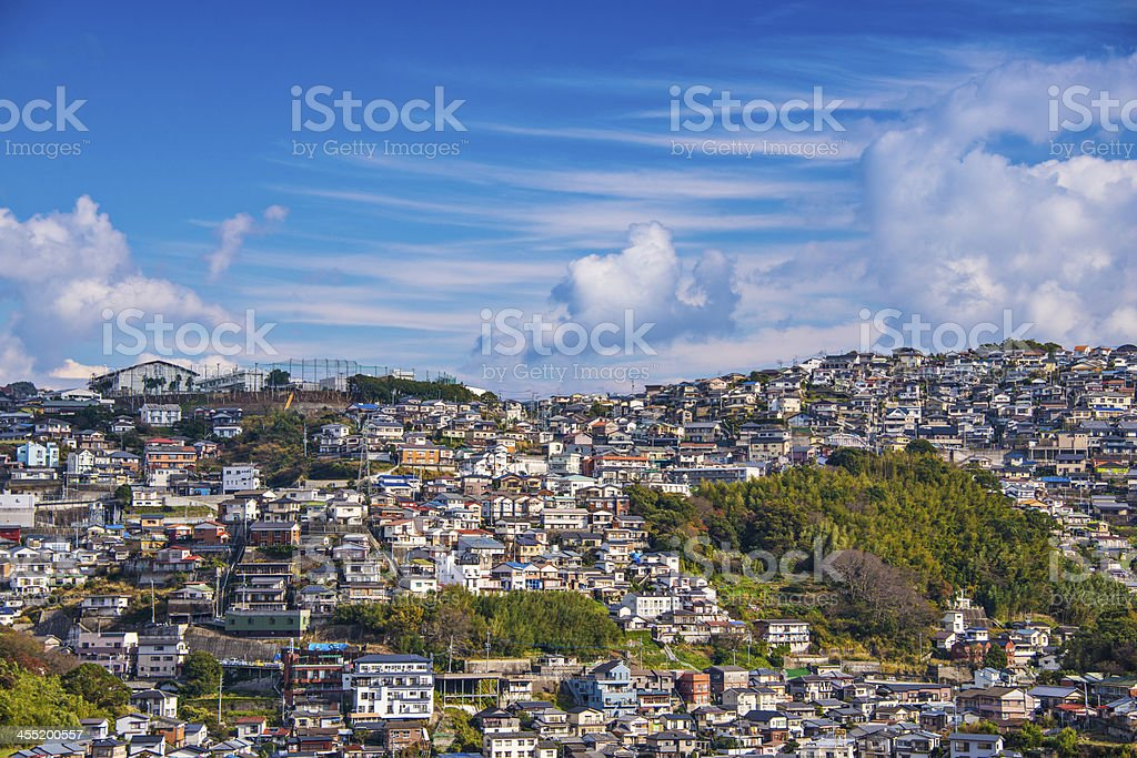 Aerial view of Nagasaki in Japan stock photo