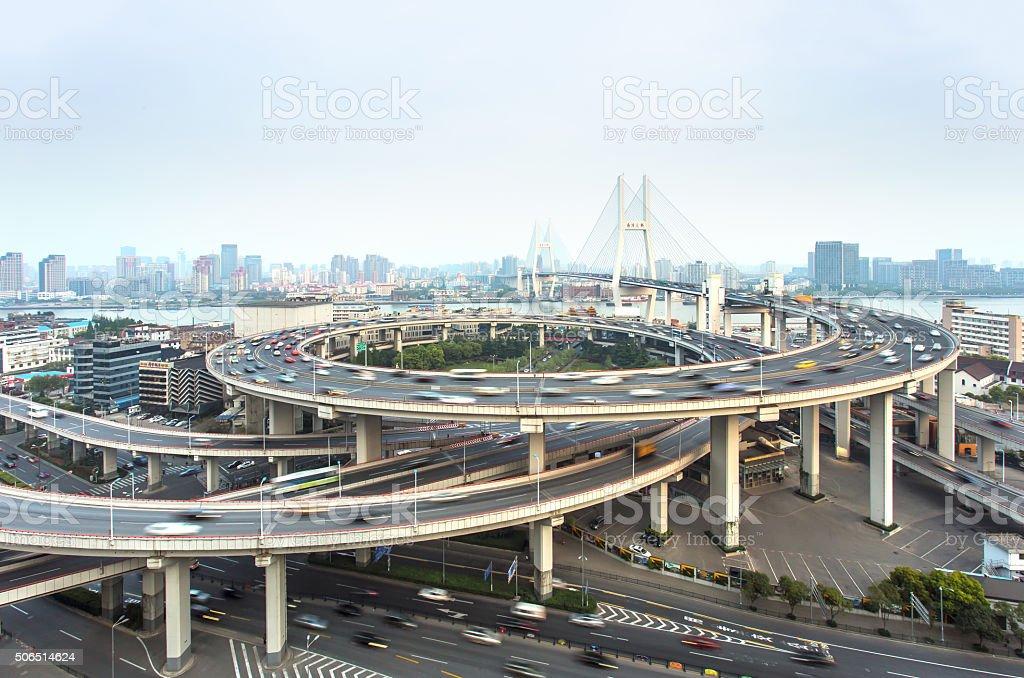 Vista aérea de Nanpu puente en Shanghai, China - Foto de stock de Aire libre libre de derechos