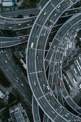 Aerial view of Nanpu Bridge Nanpu Bridge Approach Bridge in Shanghai