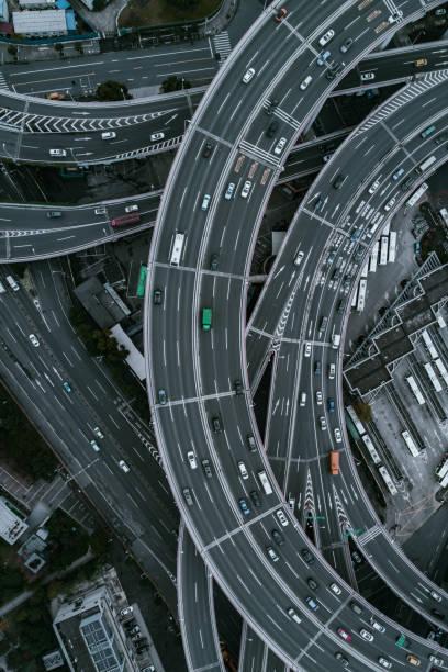 Luftaufnahme der Nanpu Brücke Nanpu Bridge Ansatz-Brücke in Shanghai – Foto
