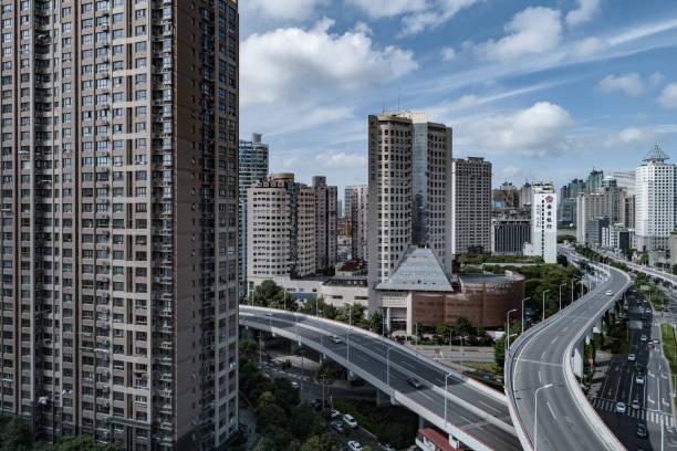 Luftaufnahme der Nanpu Bridge Nanpu Bridge Approach Bridge in Shanghai – Foto