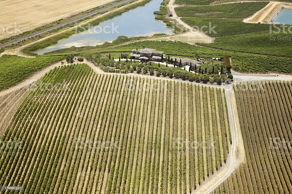 Aerial view of Napa winery royalty-free stock photo