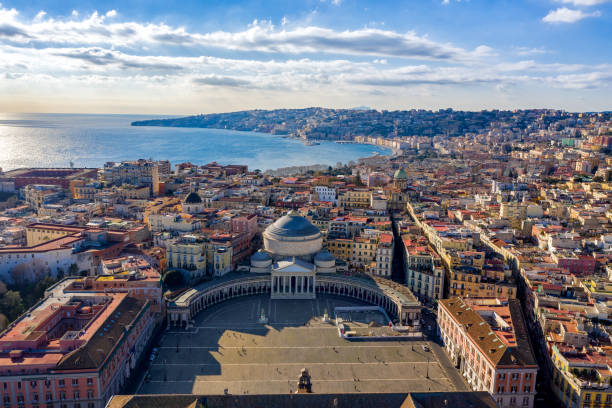 Aerial View of Naples, Italy Aerial VIew of Naples from Piazza del Plebiscito on a beautiful sunny day italy stock pictures, royalty-free photos & images