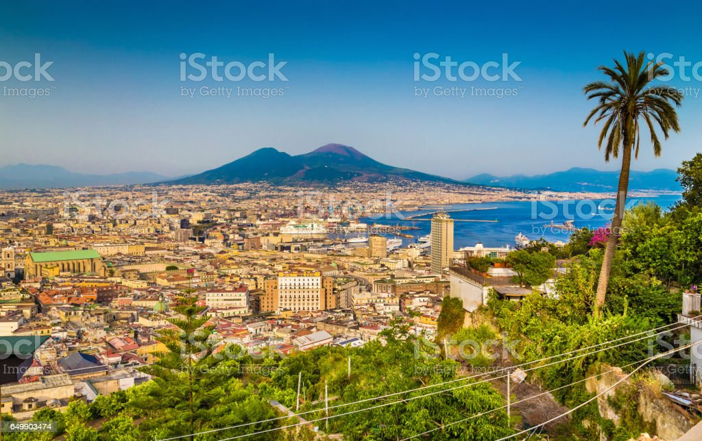 Aerial view of Napoli with Mount Vesuvius at sunset, Campania, Italy stock photo