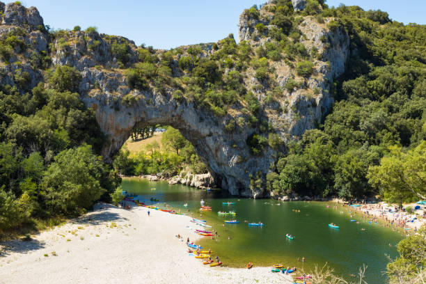 Aerial view of Narural arch in Vallon Pont D'arc in Ardeche canyon in France stock photo