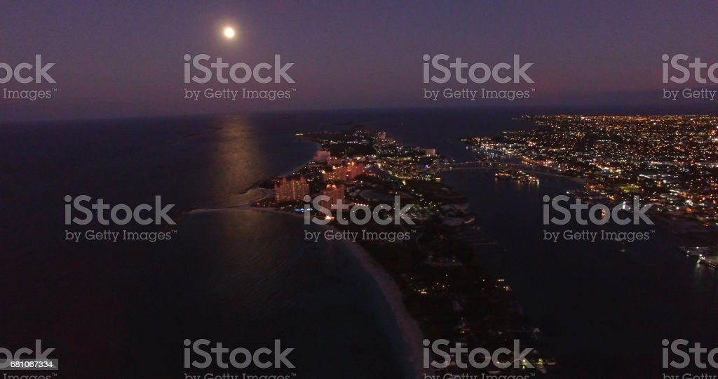 Aerial View of Nassau, Bahamas at Night stock photo