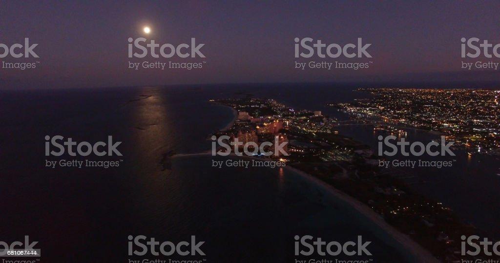 Aerial View of Nassau, Bahamas at Night royalty-free stock photo