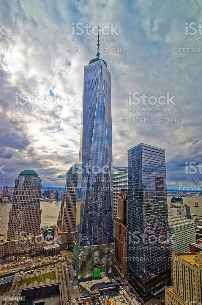 Aerial view of National September 11 Memorial and Freedom Tower stock photo