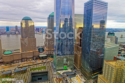 New York, USA - April 24, 2015: Aerial view of National September 11 Memorial - 9/11 - in Financial District in Lower Manhattan. It is a commemoration of the terrorist attacks on September 11, 2001