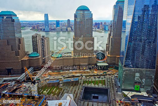 New York, USA - April 23, 2015: Aerial view of National September 11 Memorial - 9/11 - of Financial District in Lower Manhattan. It is a commemoration of the terrorist attacks on September 11, 2001