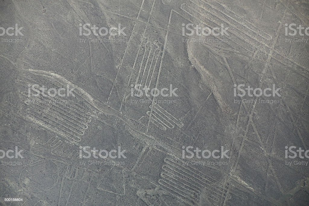 Aerial view of Nazca Lines geoglyphs in Peru. stock photo