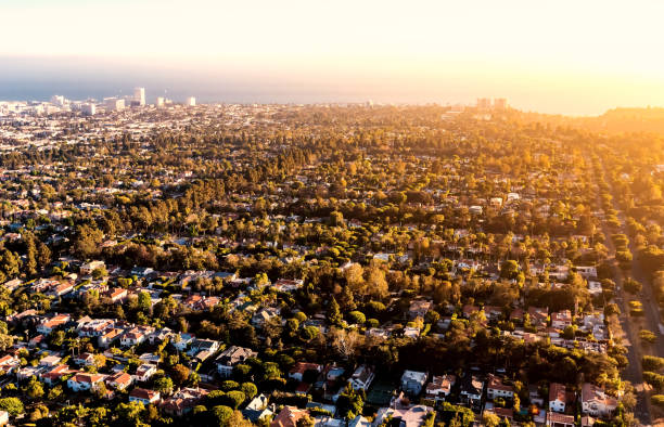 Aerial view of LA near Century City Aerial view of Los Angeles, CA near Century City westwood neighborhood los angeles stock pictures, royalty-free photos & images