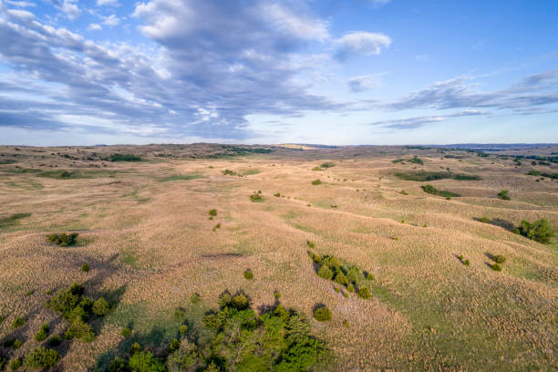aerial view of nebraska sandhills - great plains stock photos and pictures