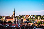 Aerial View Of Neighborhood And Beautiful Church Tower In Zagreb, Croatia