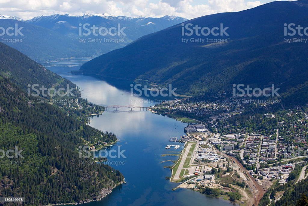 Aerial view of Nelson, British Columbia, Canada stock photo