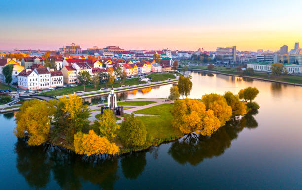 Aerial view of Nemiga, Minsk. Belarus Aerial view of Nemiga, Minsk. Republic of Belarus belarus stock pictures, royalty-free photos & images