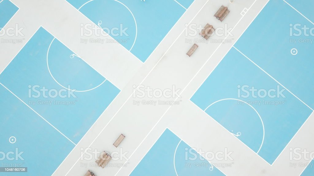 Aerial view of netball courts stock photo