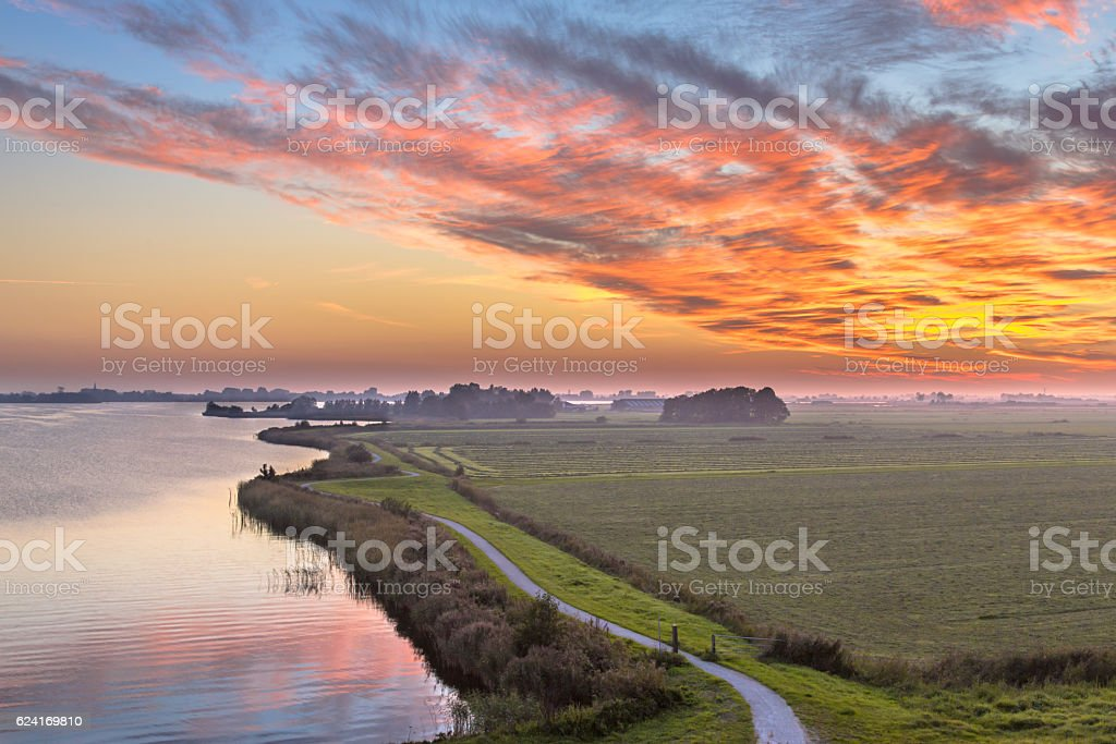 Aerial view of Netherlands Polder landscape stock photo