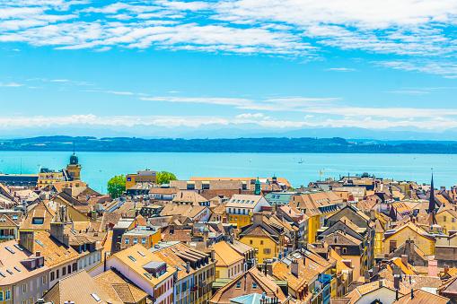 Aerial view of Neuchatel town and Neuchatel lake, Switzerland