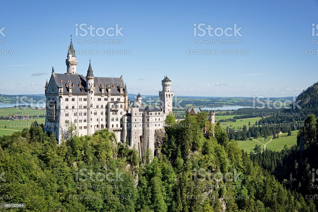 Aerial view of Neuschwanstein castle, Bavaria, Germany stock photo
