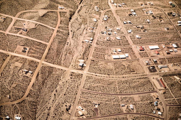 Aerial view of Nevada Desert stock photo