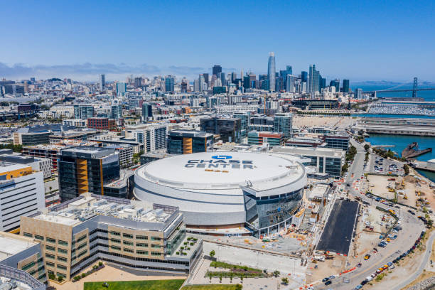 Aerial view of new Chase Arena in San Francisco with SF Skyline stock photo