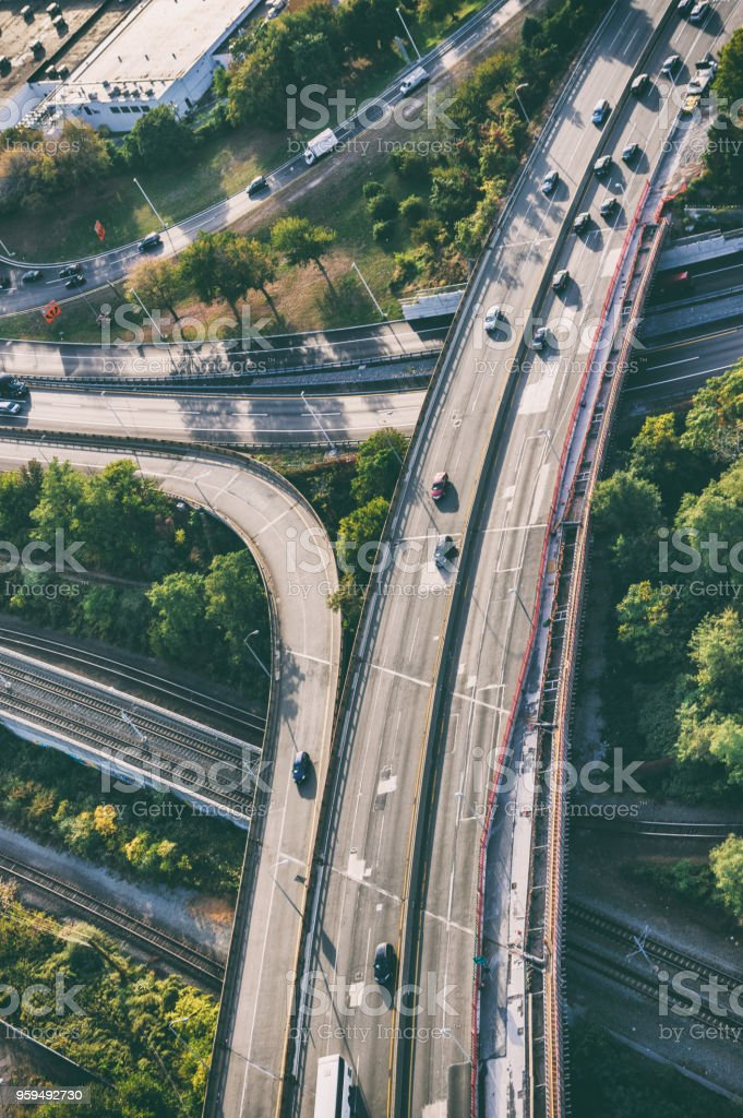 aerial view of new jersey highway junction at sunset stock photo
