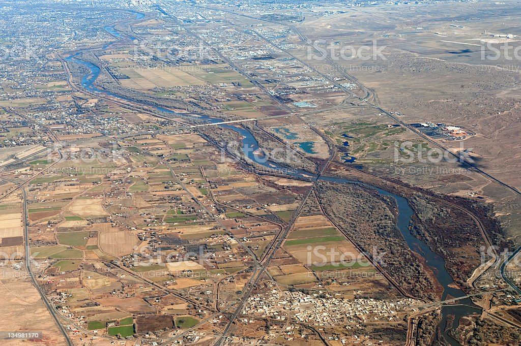 Aerial View of New Mexico Rio Grande Valley stock photo