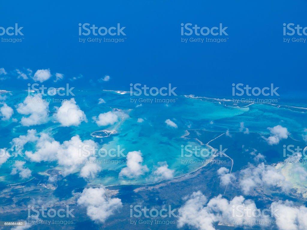 Aerial view of New Providence Island, The Bahamas stock photo