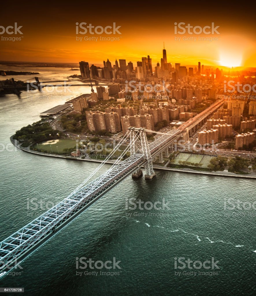 Aerial view of new york city at dusk stock photo