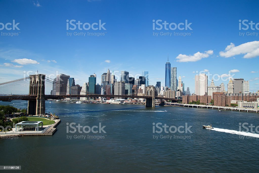 Aerial view of New York City Downtown Skyline stock photo