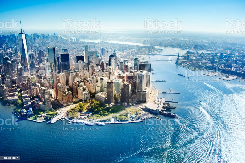 Aerial view of New York City stock photo