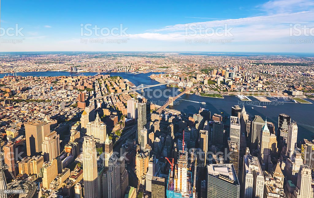 Aerial view of New York City with a view of the Hudson stock photo